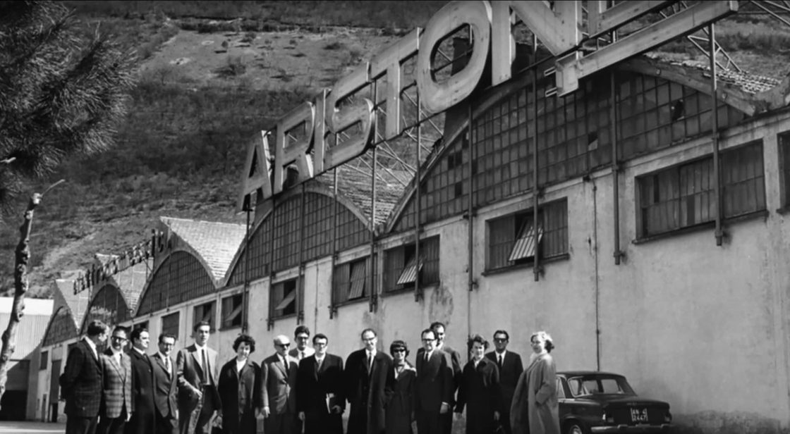 Ariston historical photo with big Ariston Logo in Italy